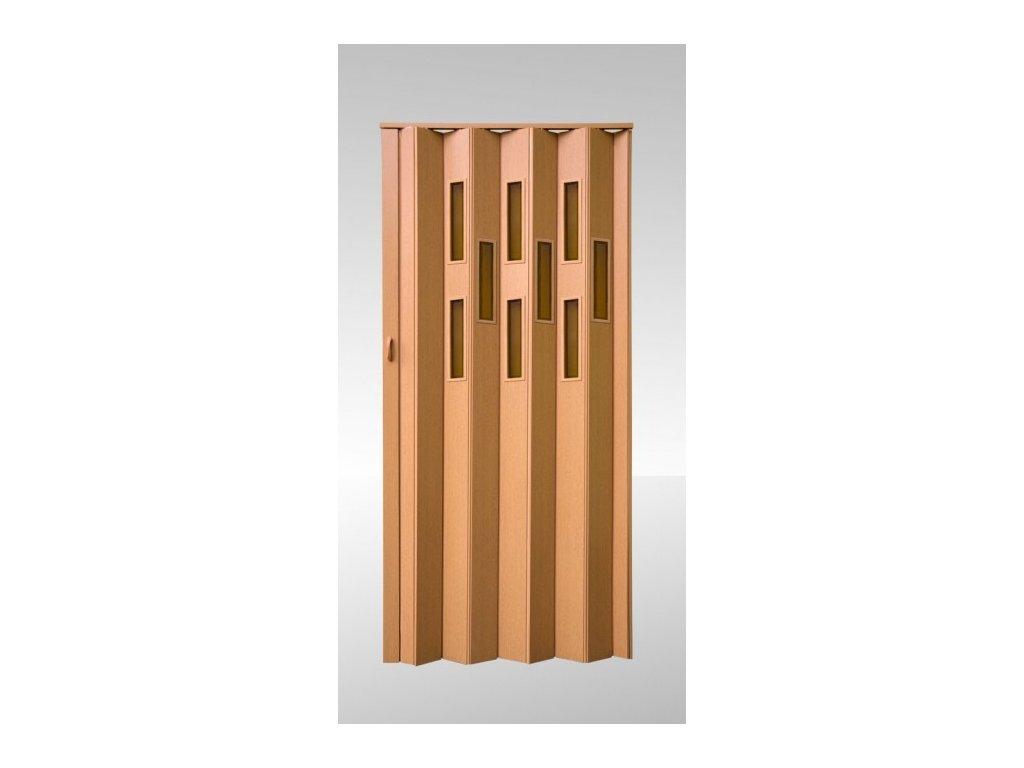 Shrnovací dveře prosklené Dub