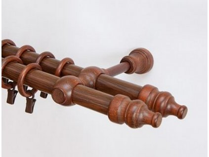 Dřevěná záclonová tyč dvouřadá Ořech Favorite 28 mm