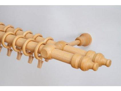 Dřevěná záclonová tyč dvouřadá Buk Favorite 28 mm