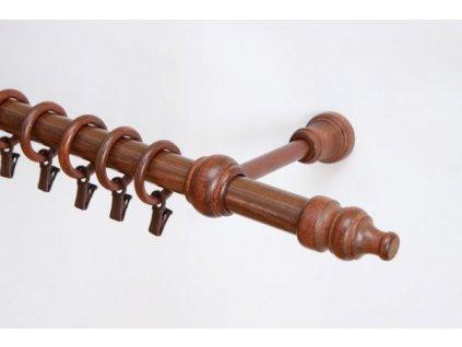Dřevěná záclonová tyč jednořadá Ořech Favorite 28 mm