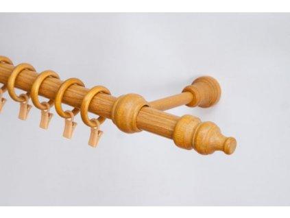 Dřevěná záclonová tyč jednořadá Zlatý dub Favorite 28 mm