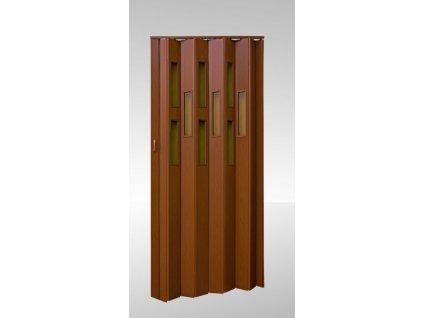 Shrnovací dveře prosklené Ořech