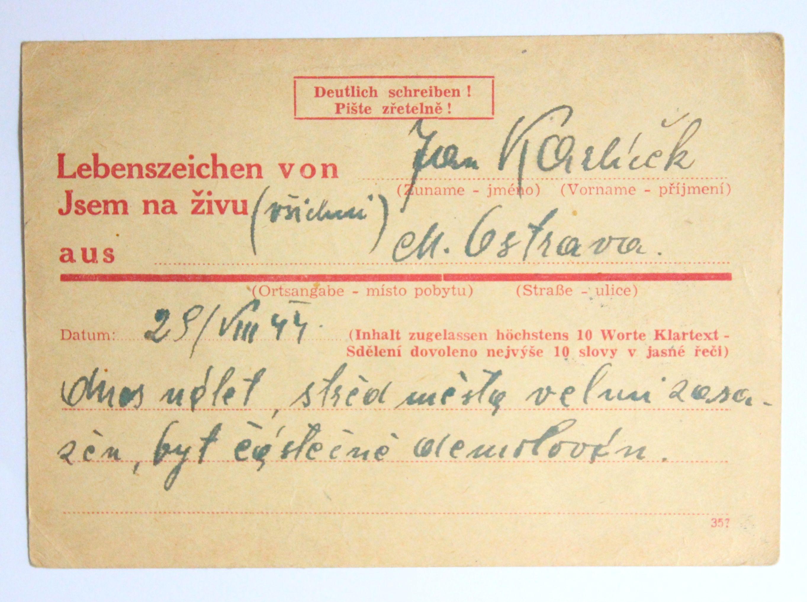 Spěšná zpráva - bombardování Ostravy 1944