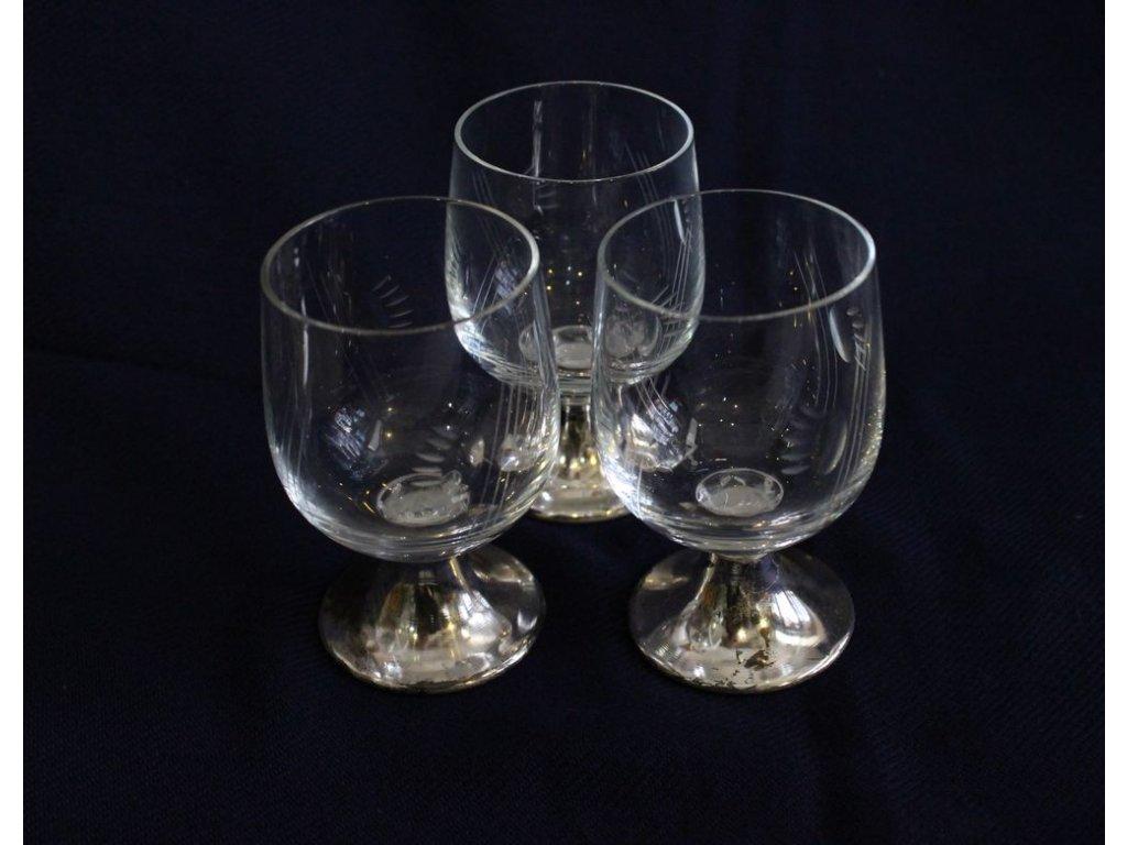 skleničky broušené sklo na kovové nožce x153 6