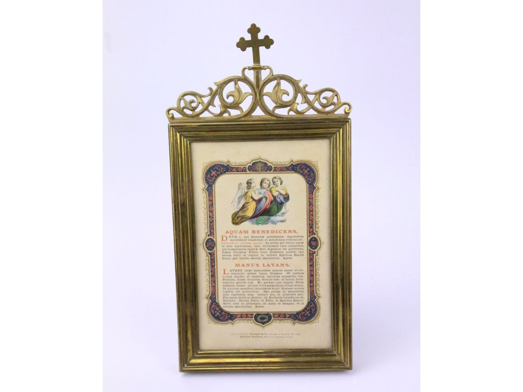 Mosazný církevní rámečky se svatým obrázkem a textem x358 4
