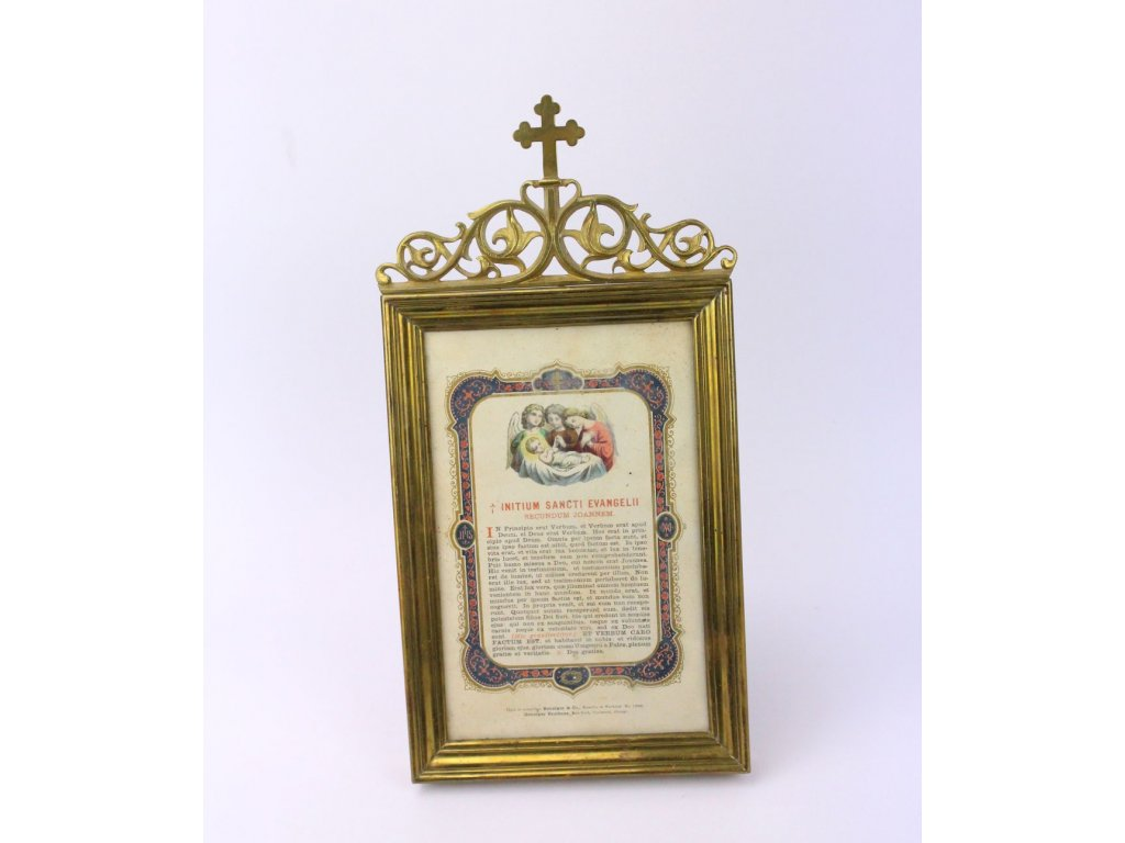 Mosazný církevní rámečky se svatým obrázkem a textem x359 1