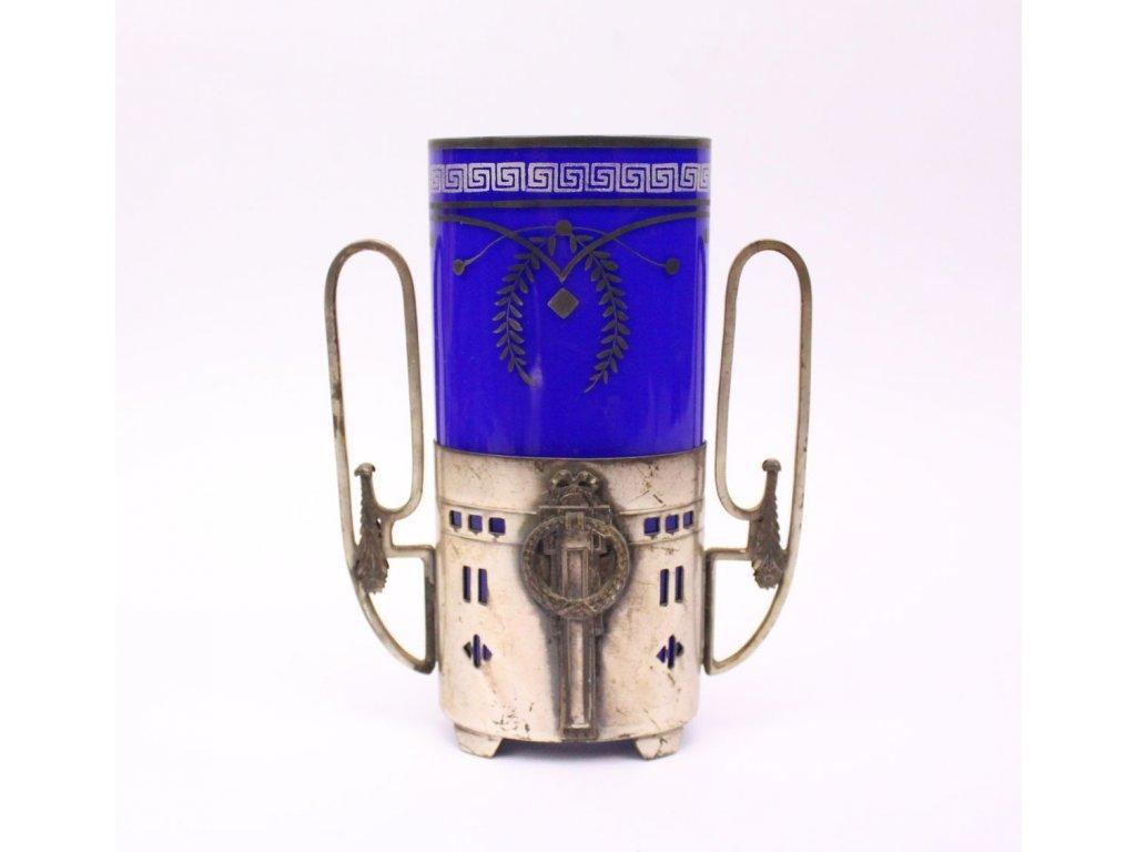 Secesní váza modré sklo x404 1