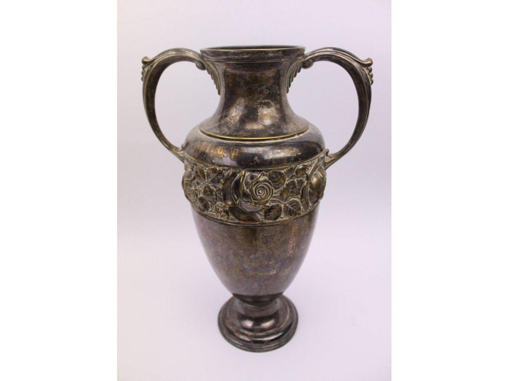 Secesní váza postříbřená motiv růže x411 2