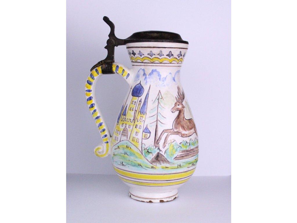 Keramický džbán malovaný lovecký x435 8