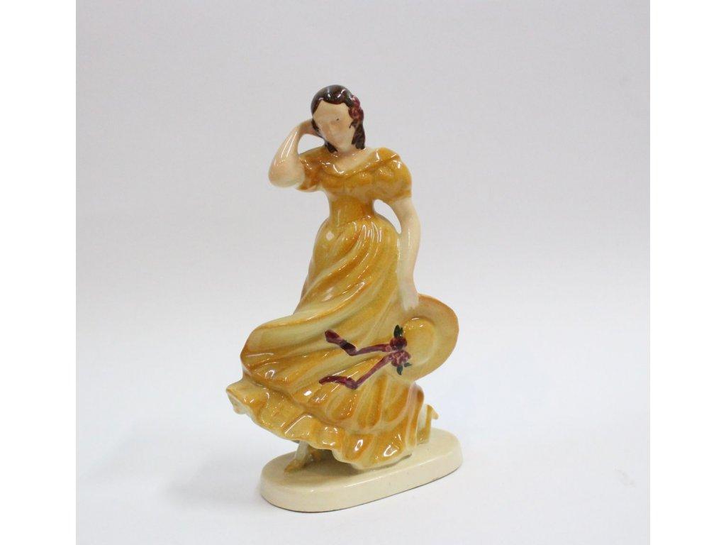 tanečnice okrové krémové šaty porcelán neznačené x445 4