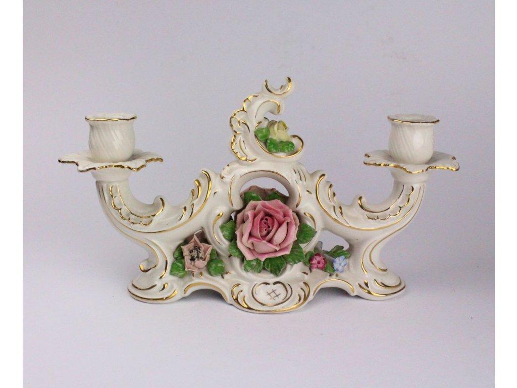 Porcelánový svícen s růžičkami Dresden x533 6