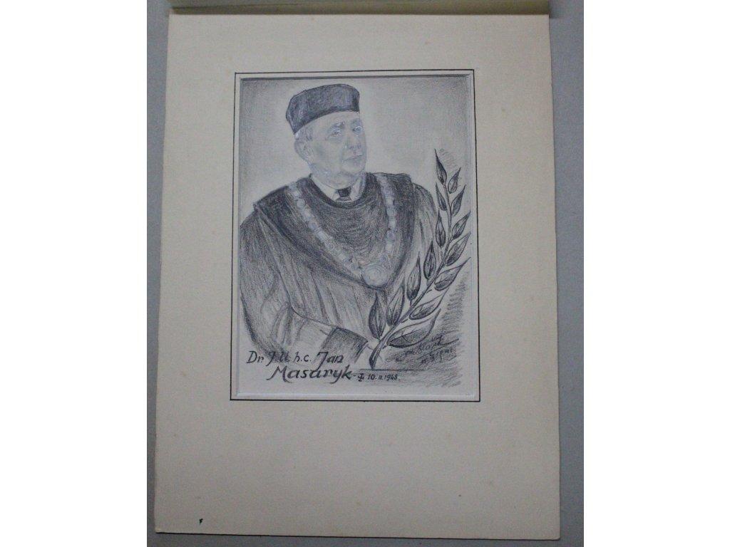 Ručně malovaný potrét tužkou Jan Masaryk Jan Blažek x567 4
