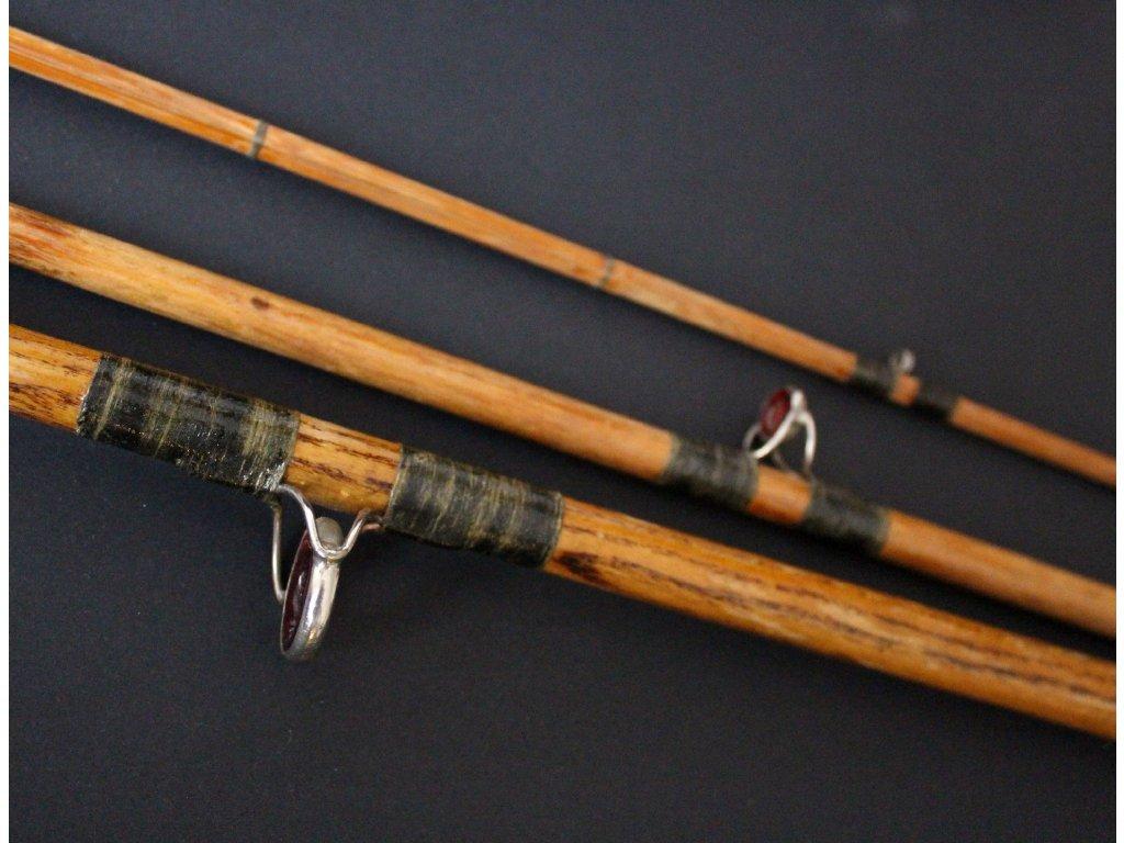 Starožitný rybářský prut dřevený štípaná špička x595 11