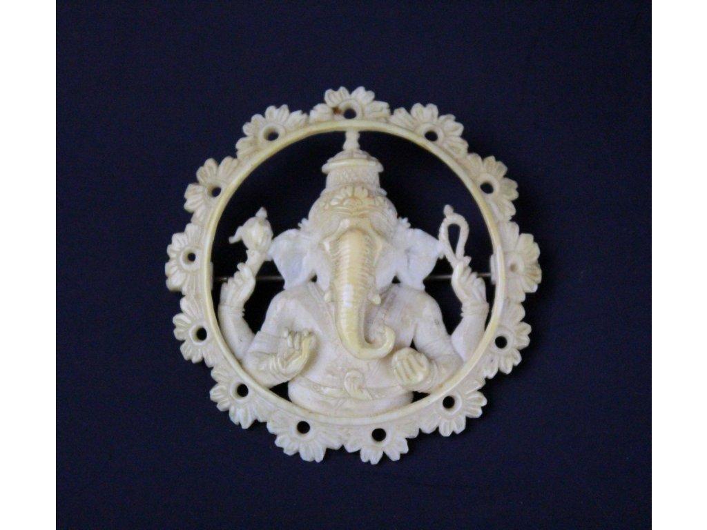 Ganesha hinduistický bůh slonovina brož x627 1