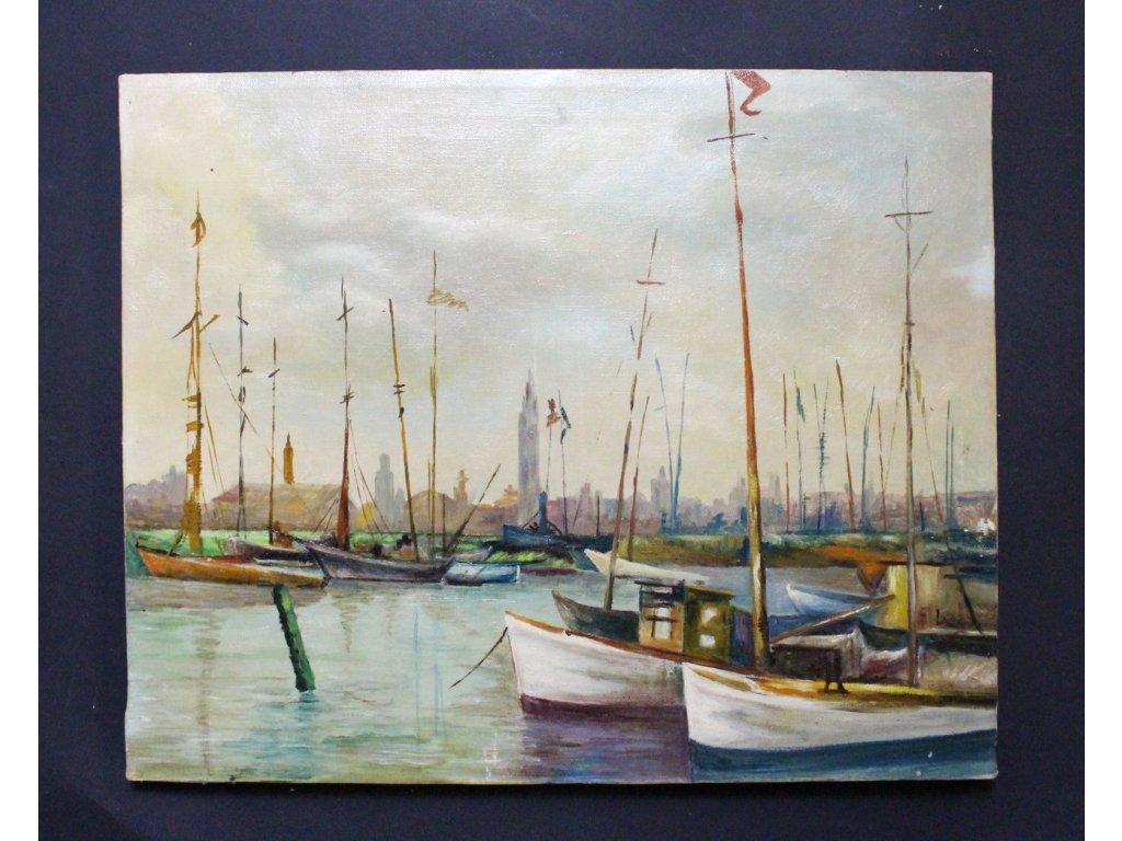 Obraz olej Lodě lodičky plachetnice x667 5