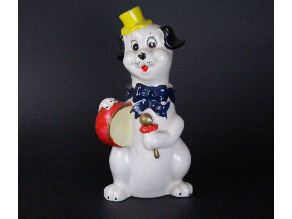 Porcelánová soška pes vázička slaměnka x687 2