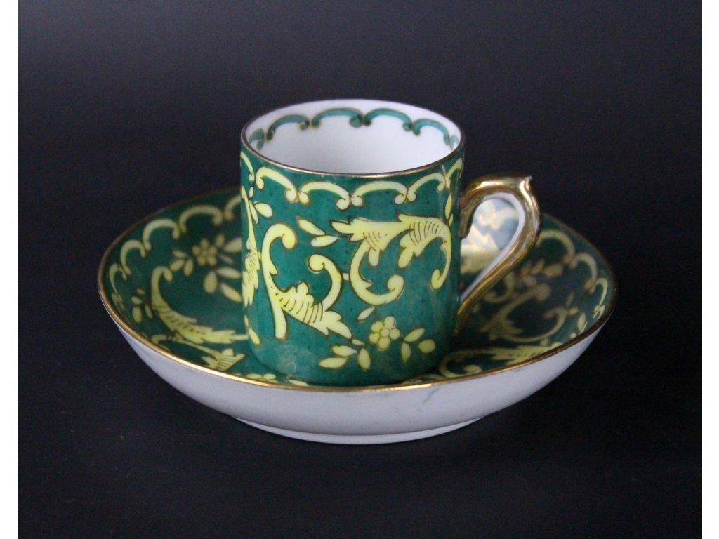 Porcelánový hrníček s podšálkem zelený 19 stol. x688 5