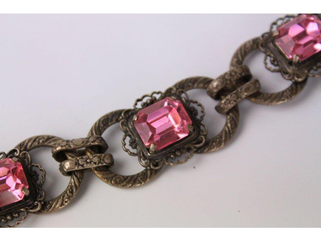 Starožitný náramek rožové kameny x737 6