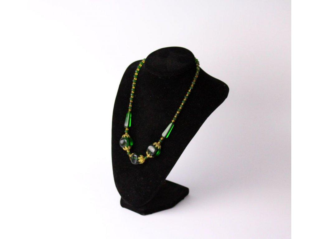 Starožitný náhrdelník zelené sklo x741 4
