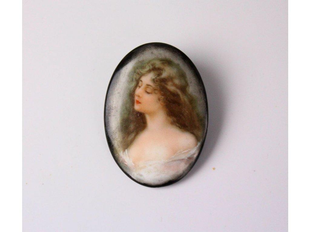 Starožitná brož dívka 19. století x758 6