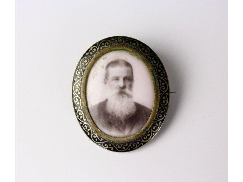 Starožitná smaltovaná brož foto na porcelánu x759 1