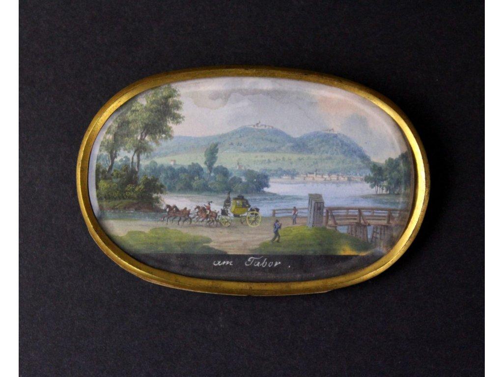 Miniaturka ruční malba pod sklem výjev Táborsko x782 4