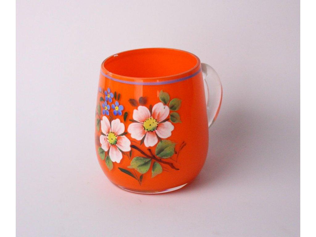 Oranžová malovaná sklenička x806 5