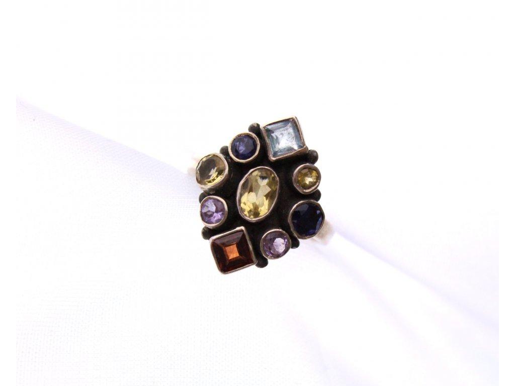 stříbrný prsten s barevnými kamínky x949 (2)