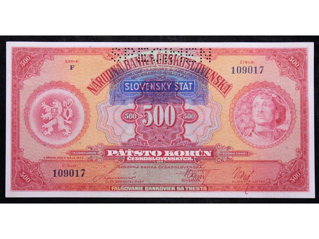 B072 VN 43 500 Kč 1929 přetisk SLOVENSKÝ ŠTÁT (1)