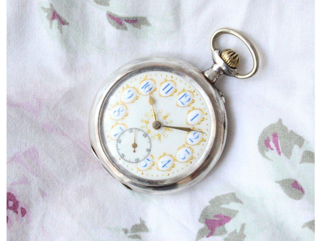 Kapesní hodinky stříbrné Remontoir Cylindre 10 rubis - Starožitnosti ... 3878a48c5b