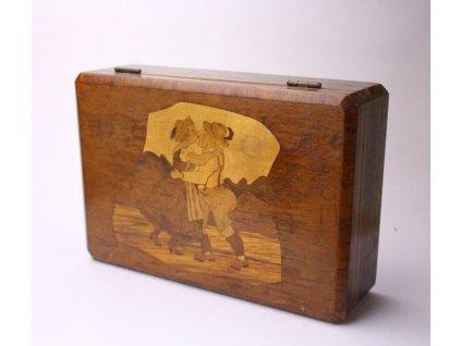 Dřevená truhla šperkovnice selský motiv intarzie x418 7
