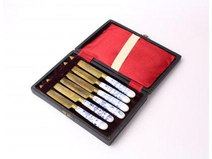 Bronzové nože s porcelánovou rukojetí set x1127(8)