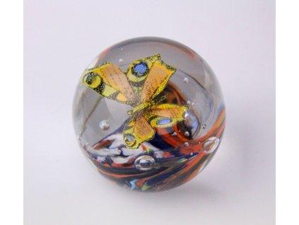 Staré skleněné težítko s motýlem x1156 (4)