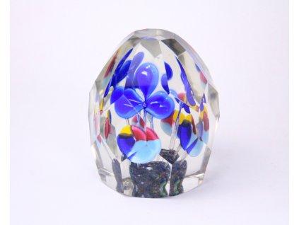 Staré skleněné těžítko modré kytičky x1158 (2)