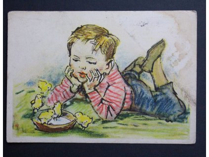 Velikonoční pohled dítě Z. Balouna P137 (2)