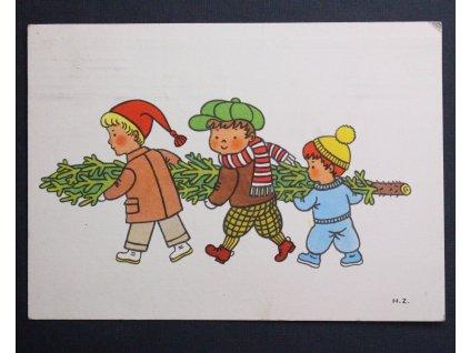 Stará pohlednice Vánoční děti se stromečkěm H. Zmatlíkové P146 (2)