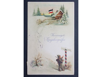 Vojenská pohlednice polní pošta Herzinnigste Neujahrsgrüfse P172 (1)
