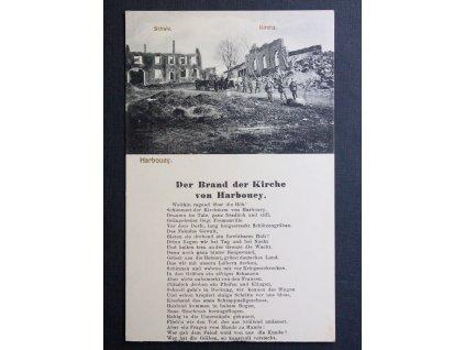 Válečná pohlednice Harboueye Der Brand der Kirche von Harbouey P184 (1)