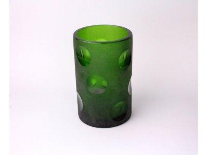 Stará váza zelené sklo x1174 (4)