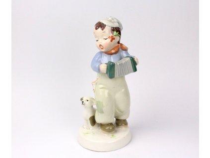 Procelánová soška Chlapeček s harmonikou Royal Dux Elly Strobach x1179 (7)