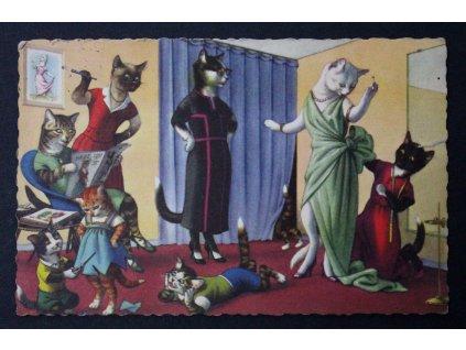 Stará pohlednice kočičí rodinka kočka Belgium P205 (1)