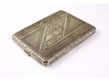 Stříbrná tabatěrka gravírovaná krabička na cigarety 1933 x1274 (1)