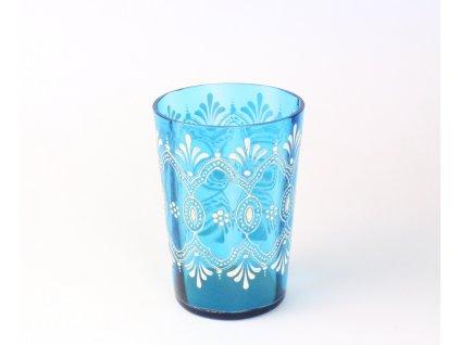 Malovaná zlacená sklenička modré sklo 19. století x1279 (1)