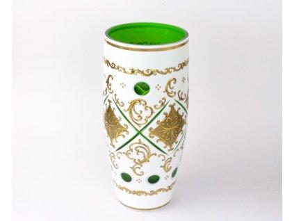 Stará váza kombinace mlečné a zelené sklo x1283 (3)