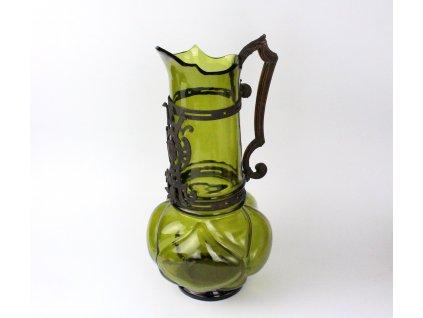 Starožitný secesní džbán zelené sklo montáž x1288 (15)