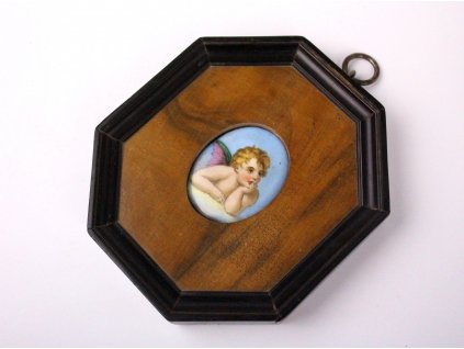 Zarámovaný porcelánový medailonek andílek x1290 (3)