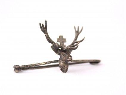 Stříbrná brož spona odznak svatý hubert x1296 (5)