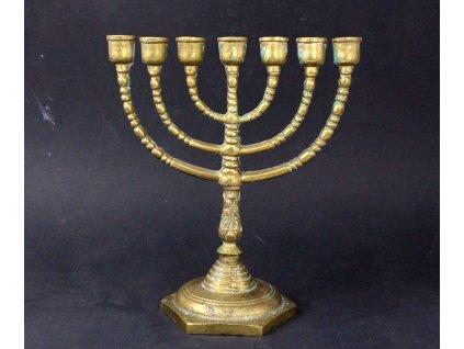 Židovský svícen MENORA 21 cm mosazná x1300 (1)