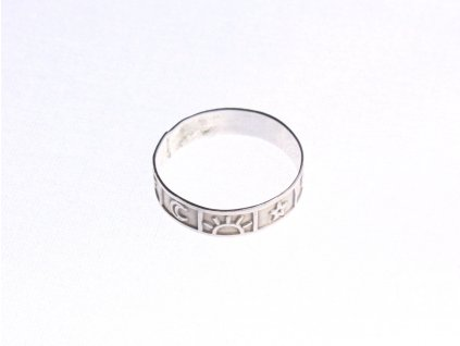 Stříbrný prsten symboly nebe velikost 59 x1329 (2)