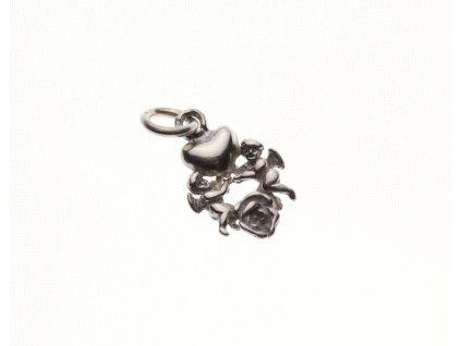 Stříbrný přívešek srdíčko a andělíčci x1330 (2)